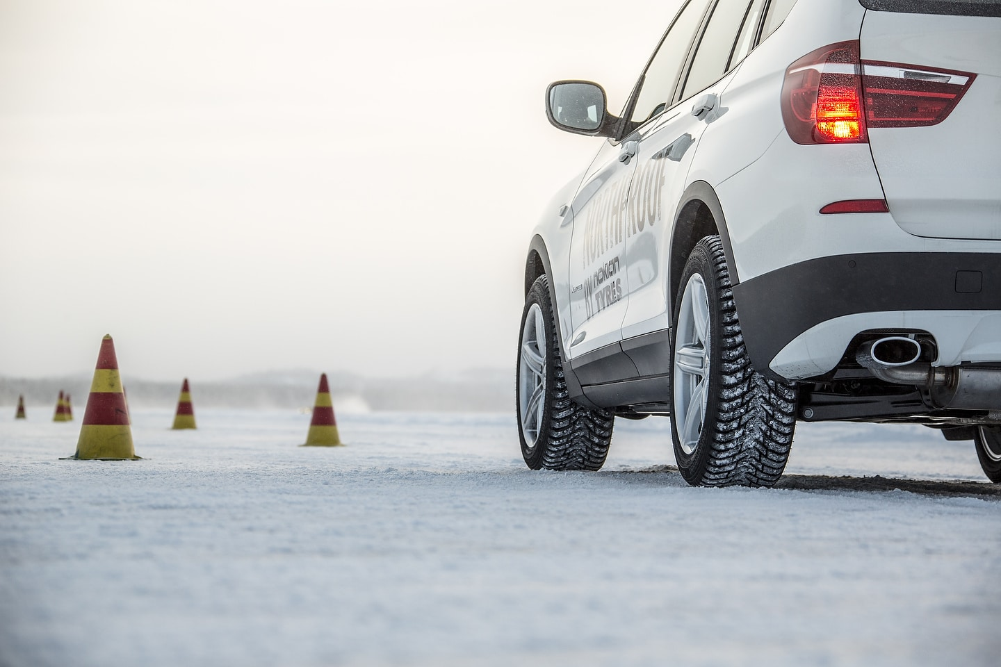 Winter tire testing with a BMW X3