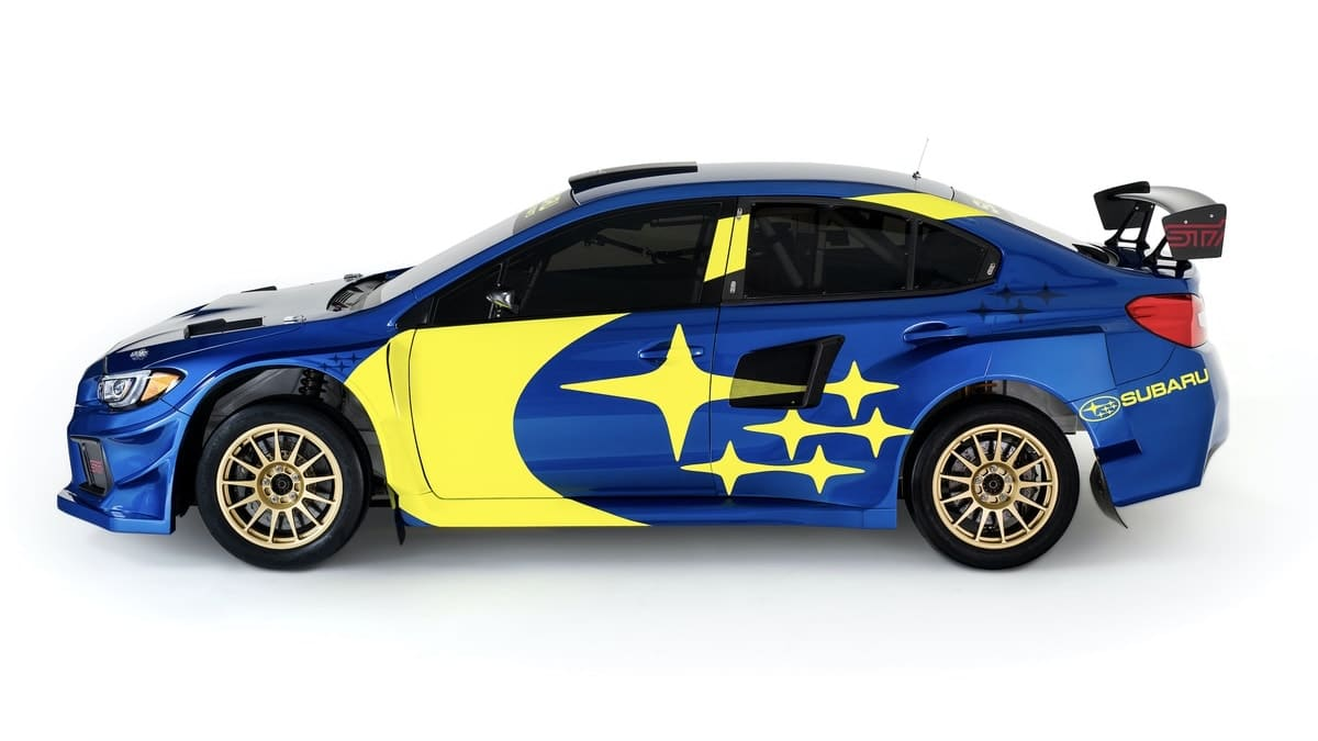 Subaru WRX STI blue and yellow