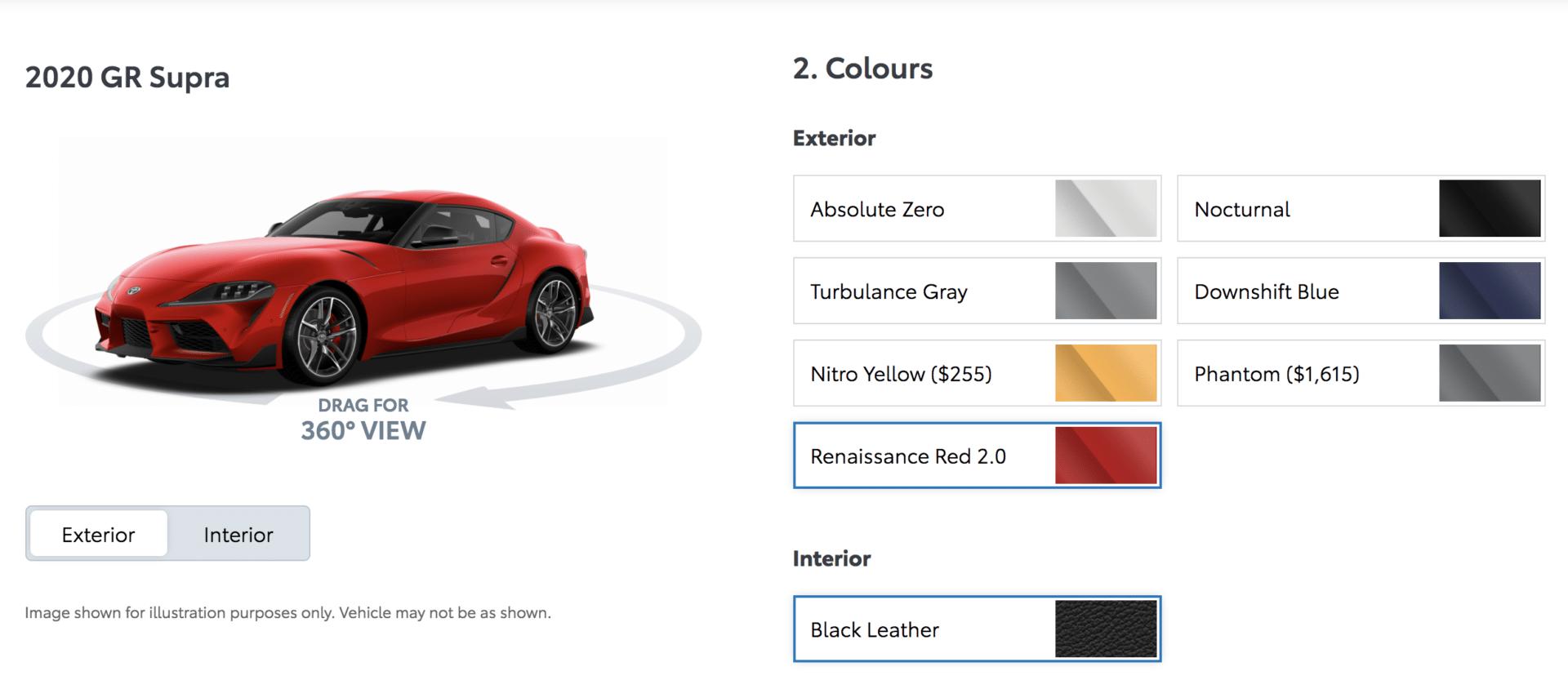 2020 Toyota Supra color summary