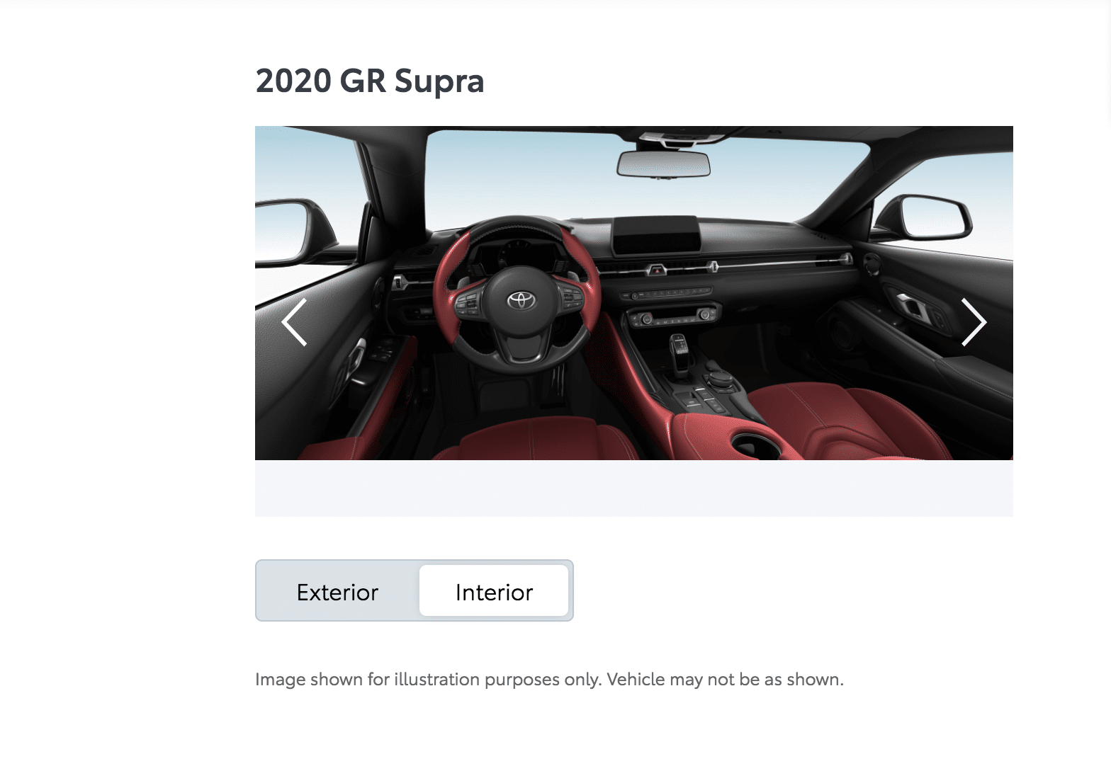 2020 Toyota Supra Red Leather Interior