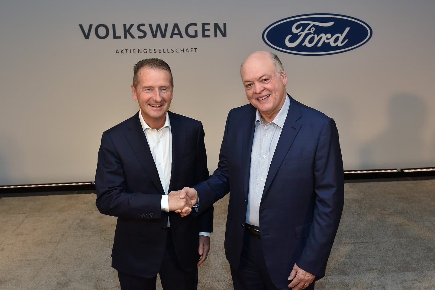 Volkswagen CEO Dr. Herbert Diess and Ford President and CEO Jim Hackett
