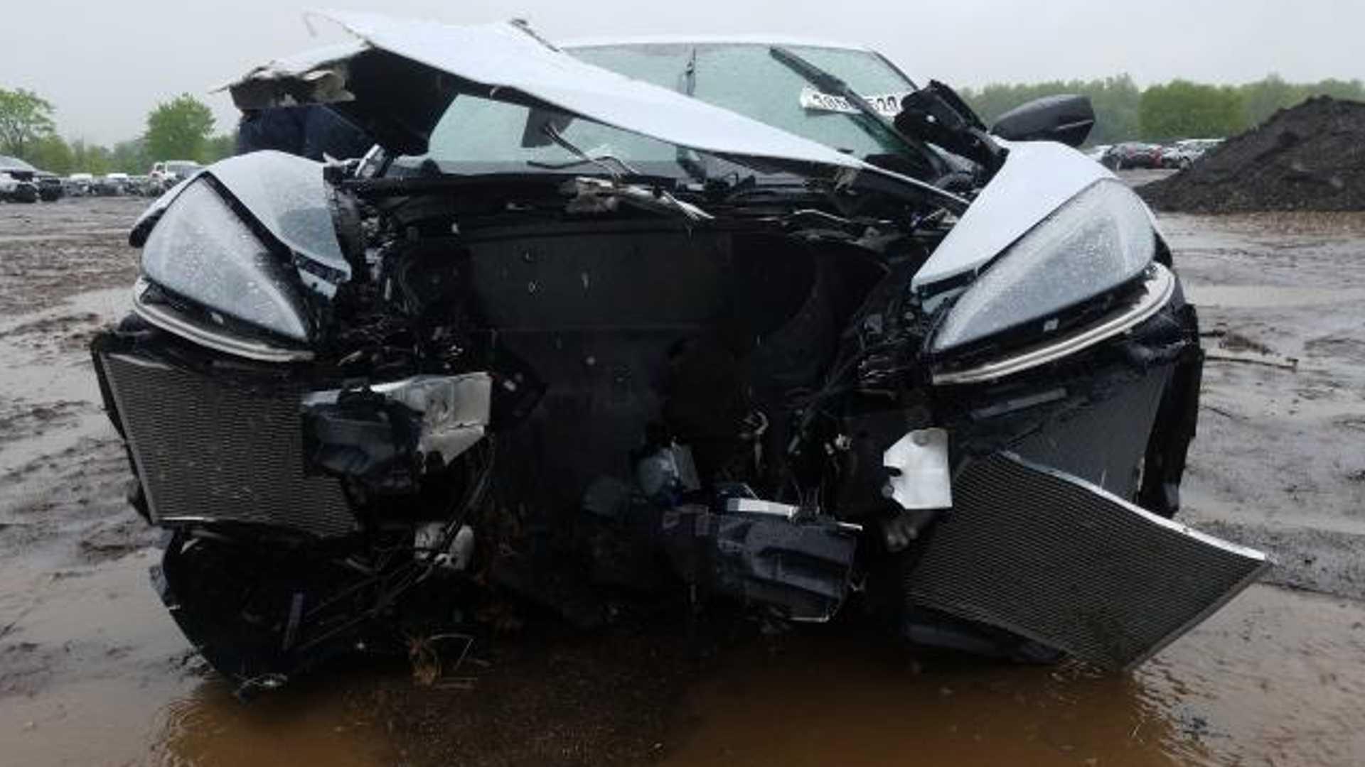 Wrecked C8 Corvette