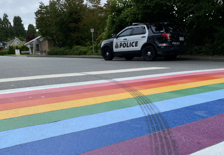 Ford Mustang Tire Marks Pride Crosswalk